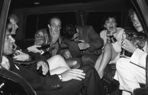 Martin Burgoyne, Maripol, Tom Cruise, Keith Haring, Andy Warhol and Steve Rubell taken after the wedding of Madonna and Sean Penn inside of their limo.