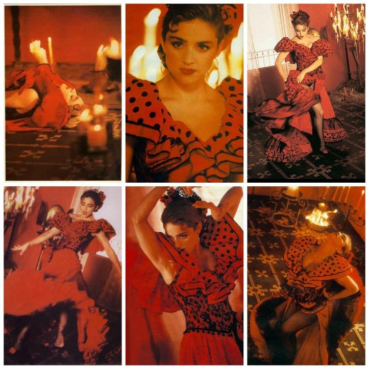 1987-la-isla-bonita-robe-rouge-a-pois-noirs